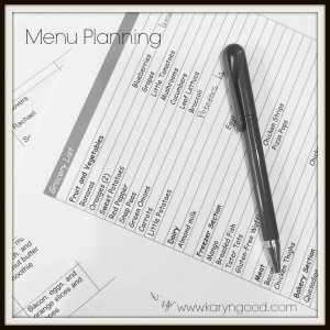 Menu Planning Karyn Good